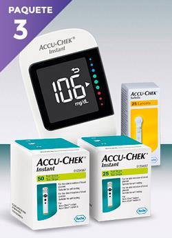 glucometro accu chek instant - color blanco con display digital junto a caja de 25 lancetas, en primer plano dos cajas con tiras reactivas, una con 50 y otra con 25