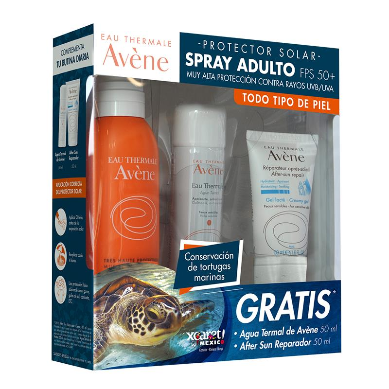 A-Kit Avene Bloquedor Solar Spray Adulto 200Ml + Aftersun 50Ml + Agua Termal 50Ml