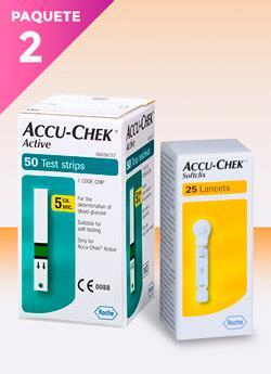 tiras reactivas glucosa accu chek active - una caja con 25 tiras reactivas y y una caja con 25 lancetas sofclix