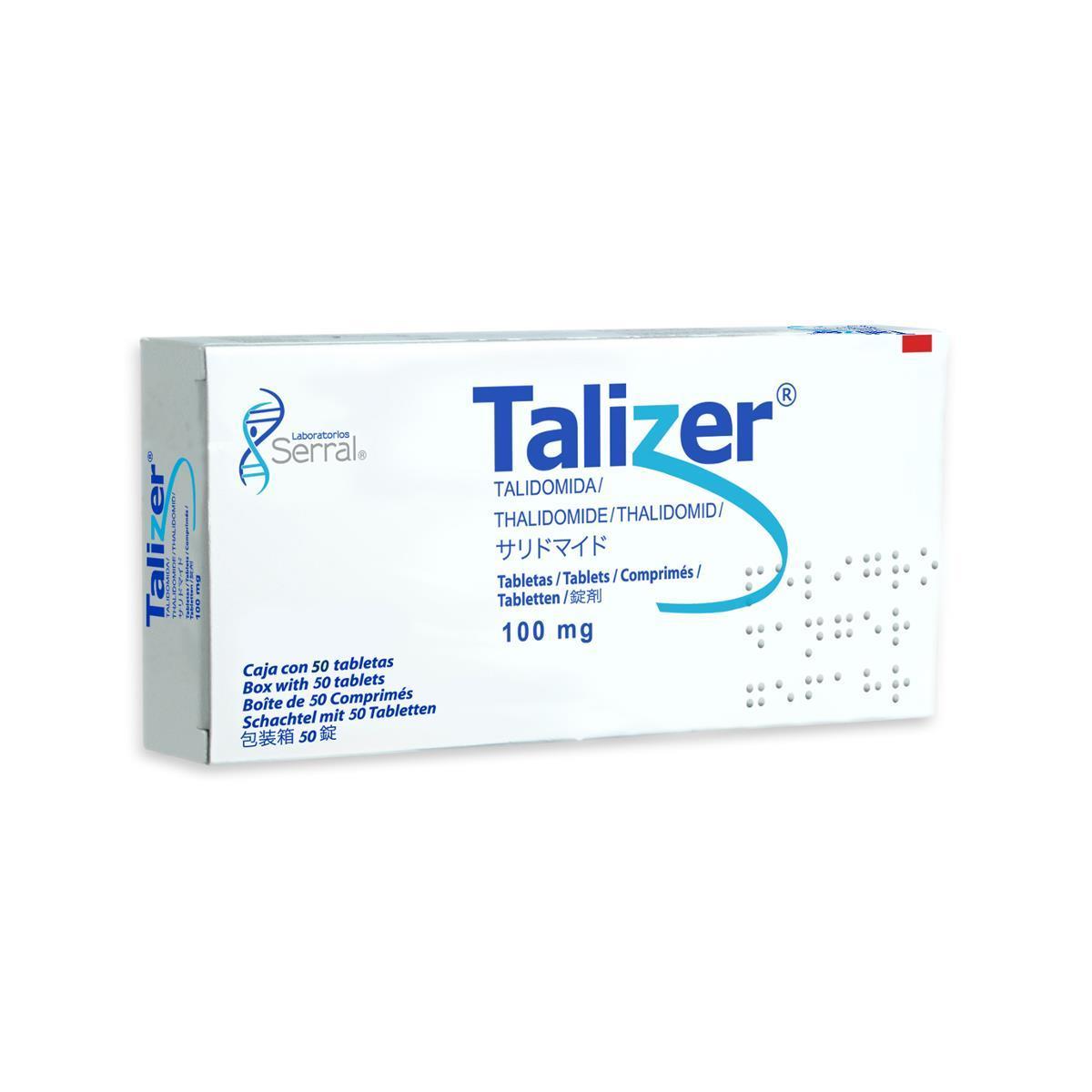 Talizer® es Talidomida en concentración de 100mg, indicado principalmente para tratar reacción leprosa tipo II. <br/><br/>Caja con 50 tabletas de 100 mg.